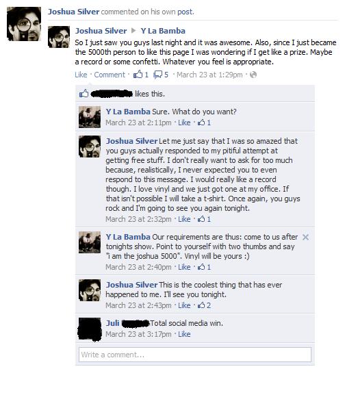 Facebook conversation, Y La Bamba